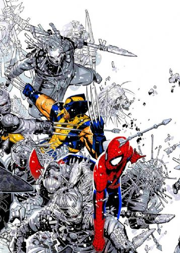 SPIDER MAN - SPIDY AND WOLVERINE BATTLE canvas print - self adhesive poster - photo print
